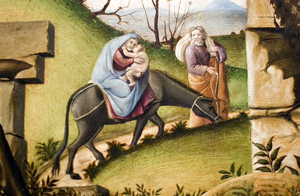 The Flight into Egypt (detail of Adoration tondo)