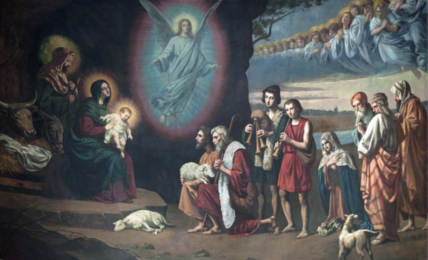 Shepherds and Angels Adore the Newborn Savior