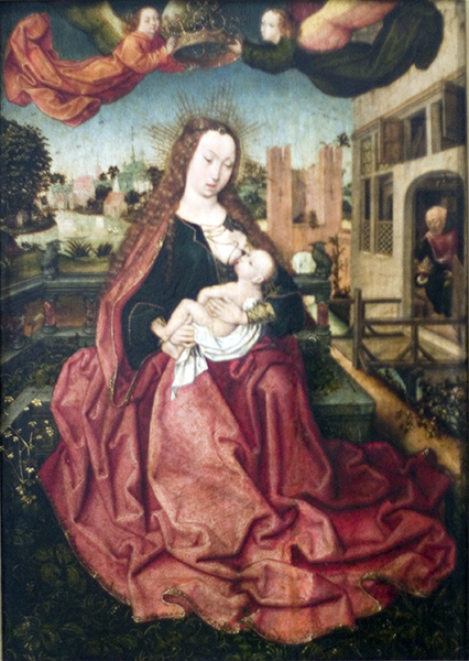 Virgin with Child, in Garden, Crowned by Two Angels, St. Joseph in Doorway