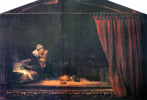 The Holy Family with a Painted Frame and Curtain