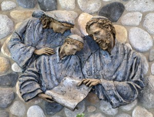 Joseph Teaches Jesus Scriptures in the Holy Family
