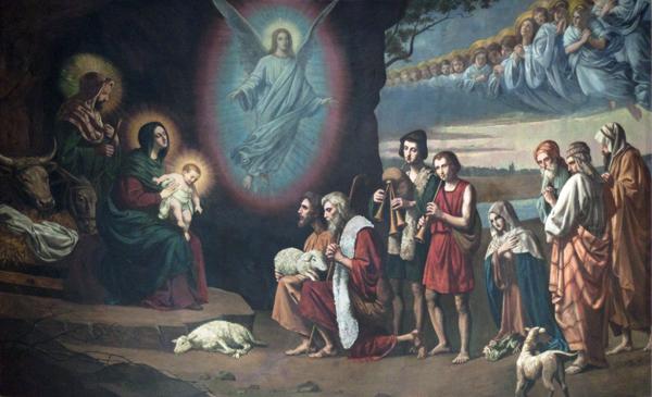 Shepherds and Angels Adore the Newborn Savior