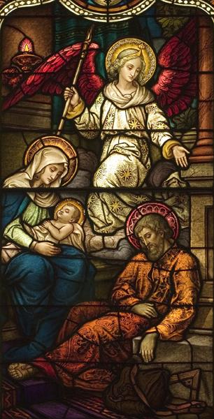 Life of St. Joseph, Window 6: Angel Warns Joseph in a Dream