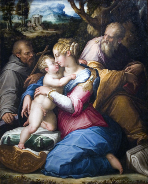 Holy Family with St. Francis in Landscape